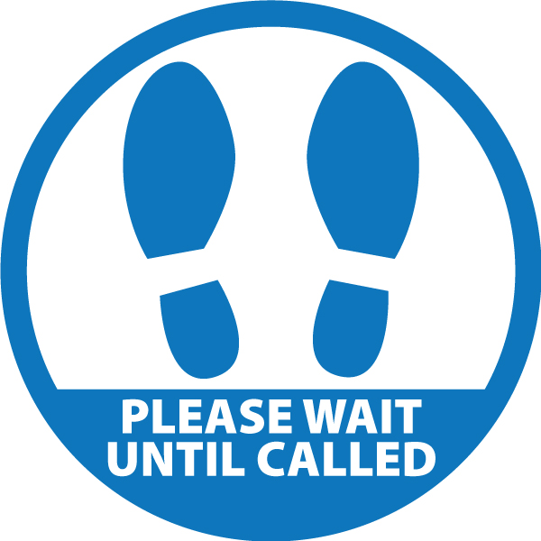 Covid Round Sticker - Please Wait